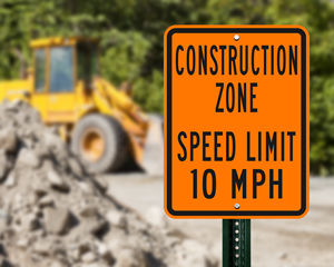 Construction zone speed limit sign