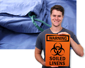 Biohazard Contaminated Clothing Signs