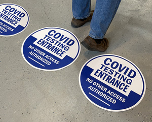 Covid testing entrance floor decals
