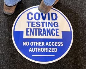 Covid testing floor decal
