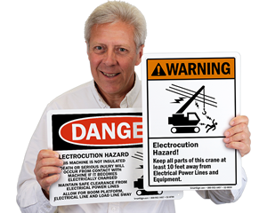 Crane Electrocution Hazard Signs