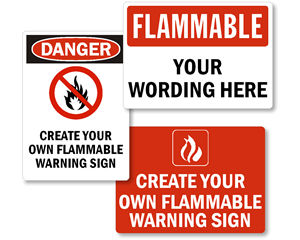Custom Flammable Material Signs