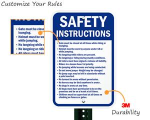 Custom horse riding rules sign