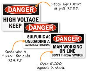 Danger Signs | Danger Safety Signs