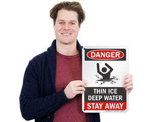 Danger think ice sign