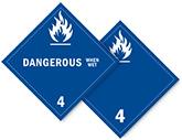 Class 4 Dangerous When Wet Placards