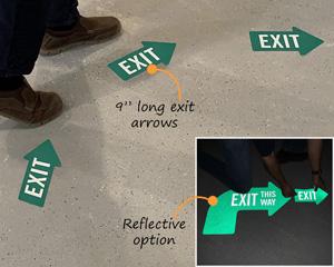 One way directional floor decals