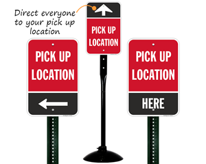 Directional signs to curbside pick up location