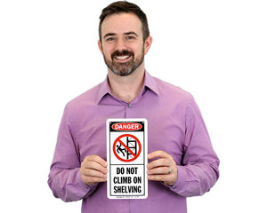 Do not climb shelving sign