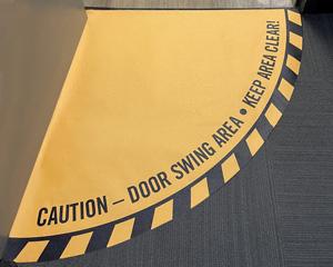Door swing floor decals
