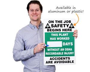 Dry erase safety scoreboard