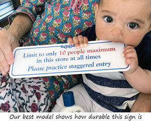 Durable maximum number of shoppers in store sign
