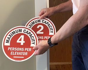 Elevator capacity signs for safe social distancing