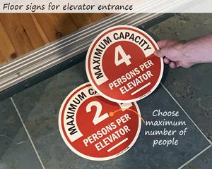 Elevator floor signs, number of people allowed