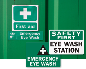 Emergency Eye Wash Labels, Eye Wash Signs