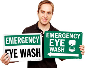 Emergency Eye Wash Sign and Label