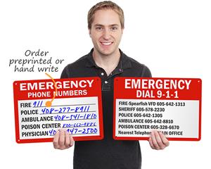 Emergency phone number signs