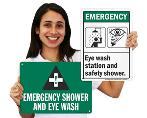 Emergency shower eyewash sign