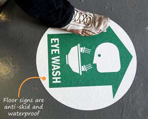 Eye Wash First Aid Floor Signs