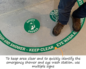 Eyewash and Shower floor decals