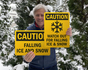 Falling ice and snow warning signs