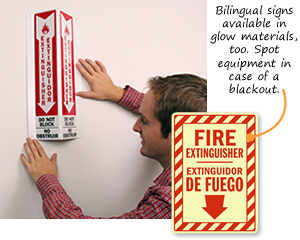 Bilingual Fire Extinguisher Signs