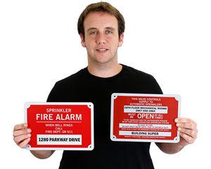 FDC sprinkler alarm sign