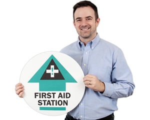 First Aid Station Floor Signs