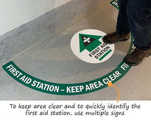 First Aid Station floor decals