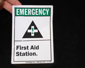 First aid sticker