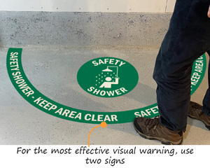 Floor marking kits for safety showers