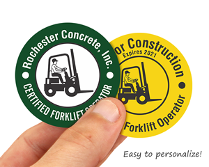 Forklift operator hard hat stickers