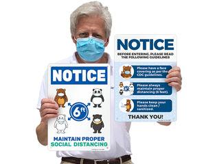 Fun social distancing signs