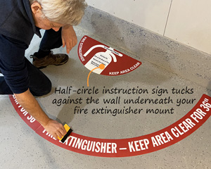 Keep area around fire extinguisher clear floor sign kit