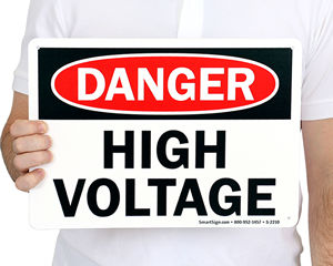 High Voltage No Trespassing Sign