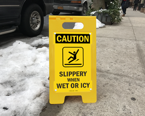 Icy warning sign watch your step
