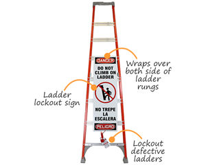 Ladder safety sign with lockout