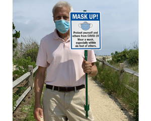 Mask Up Sign for Beach