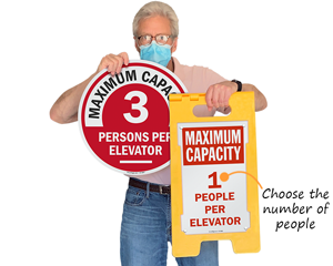Maximum number of persons in elevator signs