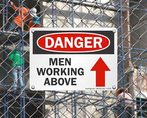 Men Working Above Sign