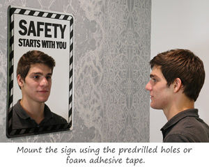 mirror sign with safety message