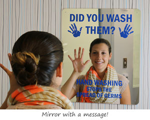 Wash your hands mirror sign