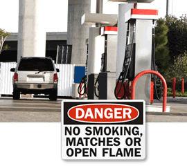 No Smoking, No Matches, No Open Flames Signs