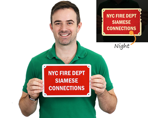 NYC fire department sign for siamese connections