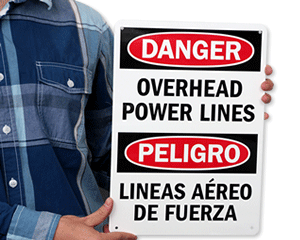 Overhead Power Line Signs