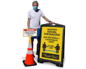 Pool social distancing signs
