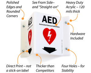 Projecting AED First Aid Sign