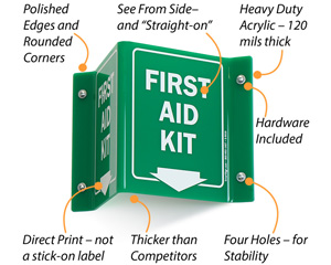 Projecting First Aid Kit Signs