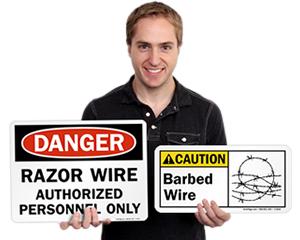 Razor Wire Signs