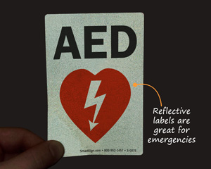 Reflective AED label